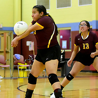 Sept. 3, 2019 -- Photo: Jeffery Jones<br /> <br /> Rehoboth Lady Lynx Patricia Chavira (15) bumps the ball Tuesday night while playing against the Thoreau Lady Hawks at Rehoboth High School in Gallup.