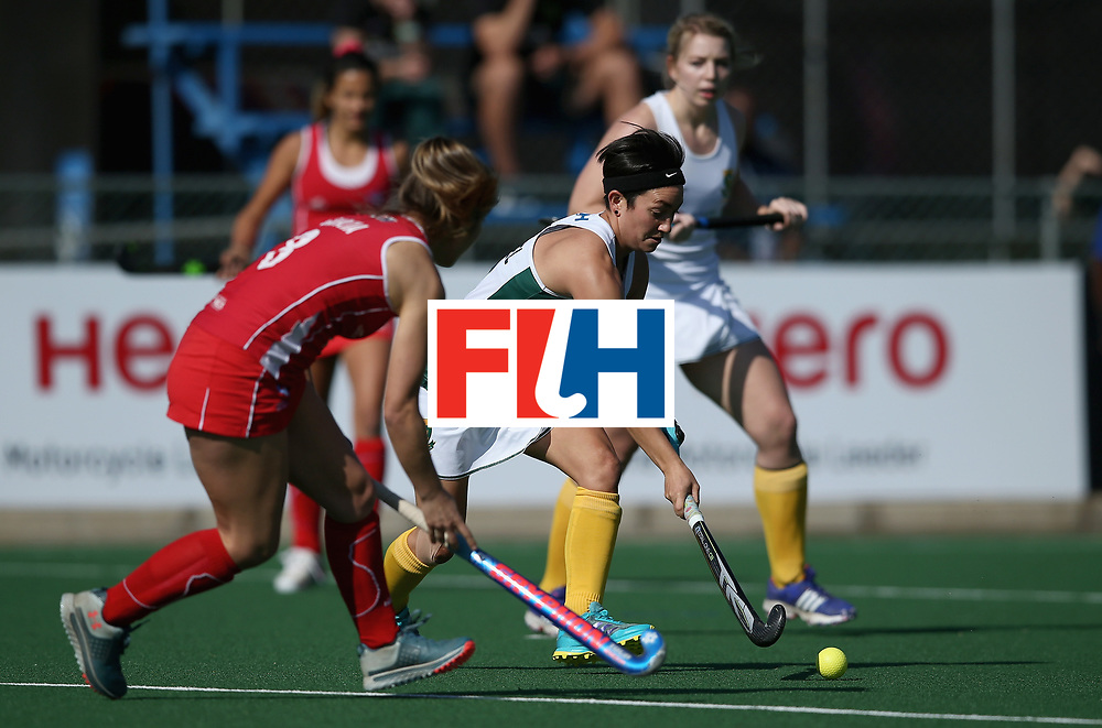 JOHANNESBURG, SOUTH AFRICA - JULY 14: Candice Manuel of South Africa and Carolina Garcia of Chile battle for possession during day 4 of the FIH Hockey World League Semi Finals Pool B match between Chile and South Africa at Wits University on July 14, 2017 in Johannesburg, South Africa. (Photo by Jan Kruger/Getty Images for FIH)