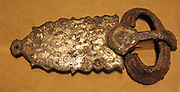Belt Buckle and Back Plate.  Iron inlaid with silver.  Made about 600.  Found in Western Germany.  Made about 600.