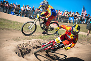 Logan Binggeli and Austin Warren battle it out in the Sea Otter Classic dual slalom at Laguna Seca Raceway in Monterey, California.