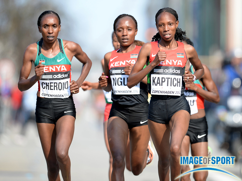 Mar 29, 2014; Copenhagen, Denmark; Gladys Cherono (KEN), Mary Ngugi (KEN) and Selly Kaptich (KEN) compete in the IAAF/AL-Bank World Half Marathon Championship. Cherono won in 1:07.29. Ngugi was second in 1:07:44 and Kaptich was third in 1:07:52. Photo by Jiro Mochizuki