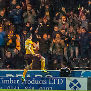 Motherwell's John Sutton celebrates scoring the opening goal. Action from the St Mirren v Motherwell game in the Scottish Premiership at St Mirren Park in Paisley, 20 December 2014. (c) Paul J Roberts / Sportpix.org.uk
