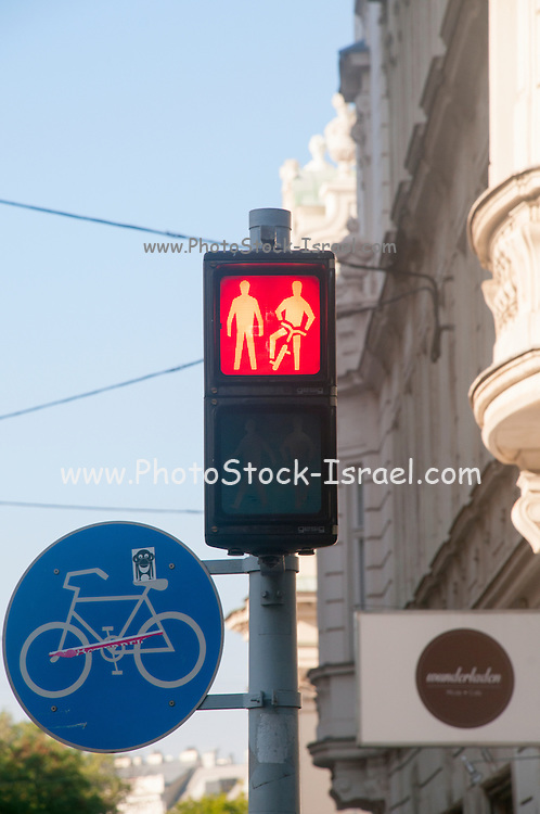 Pedestrian and cyclists traffic light Photographed in Vienna Austria
