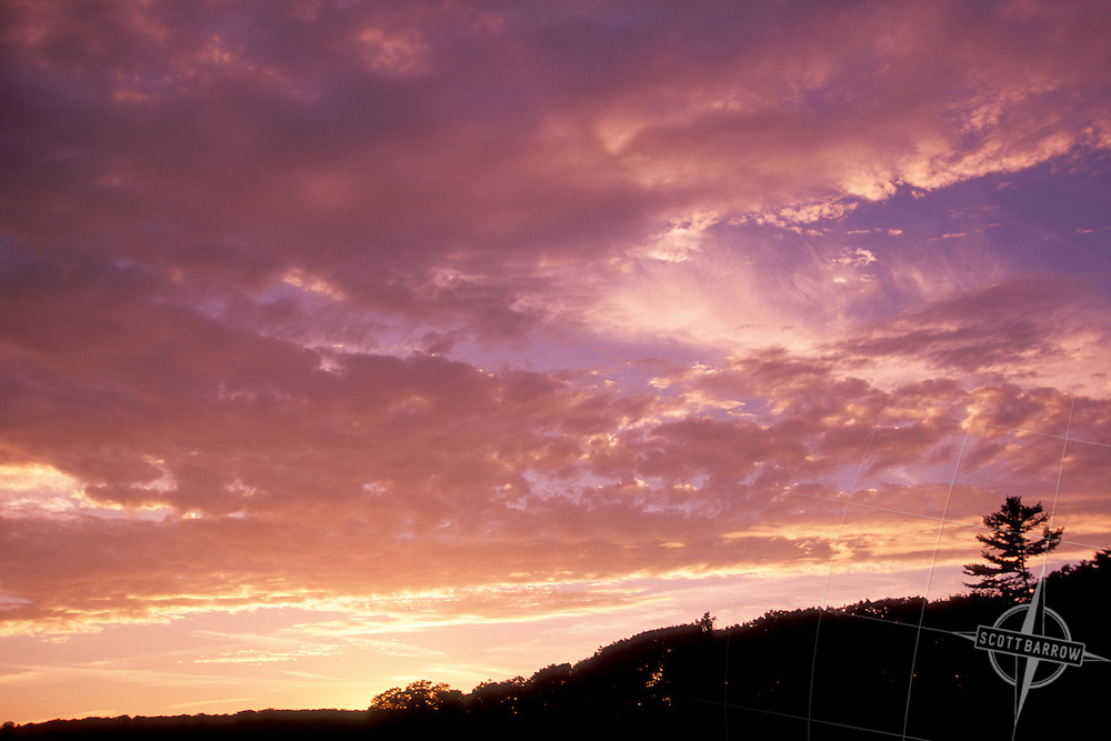Jet Stream Cirrus Clouds, Sunset