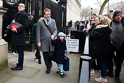 © Licensed to London News Pictures. 23/01/2020. London, UK. NAZANIN ZAGHARI-RATCLIFFE'S husband RICHARD, his mother, BARBARA and daughter GABRIELLA leave Downing Street after meeting Prime Minister, BORIS JOHNSON. NAZANIN ZAGHARI-RATCLIFFE, a dual-national British-Iranian, has been in detention in Tehran since her arrest on 3 April 2016. She is accused of spying – a charge she denies. Photo credit: Dinendra Haria/LNP