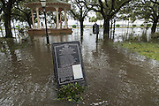 Sign for White Point Gardens surrounded by flood water in historic downtown after Hurricane Matthew passed through causing flooding and light damage to the area October 8, 2016 in Charleston, South Carolina. The hurricane made landfall near Charleston as a Category 2 storm but quickly diminished as it moved north.