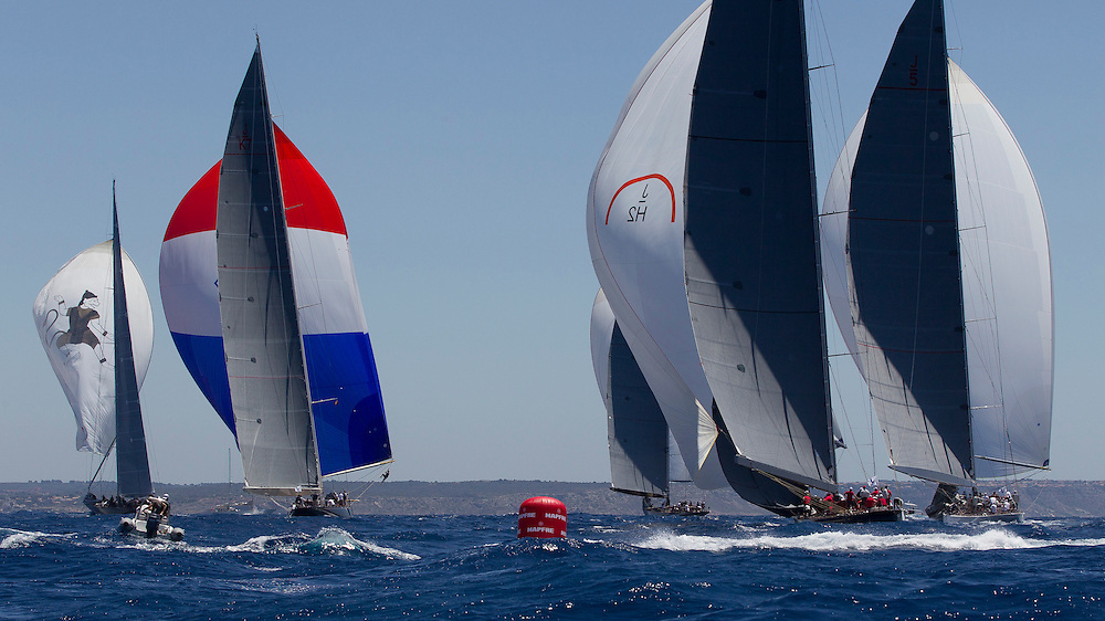 SPAIN, Palma. 19th June 2013. Superyacht Cup. J Class. Race One. L-R, Hanuman, Velsheda, Lionheart, Rainbow, Ranger.