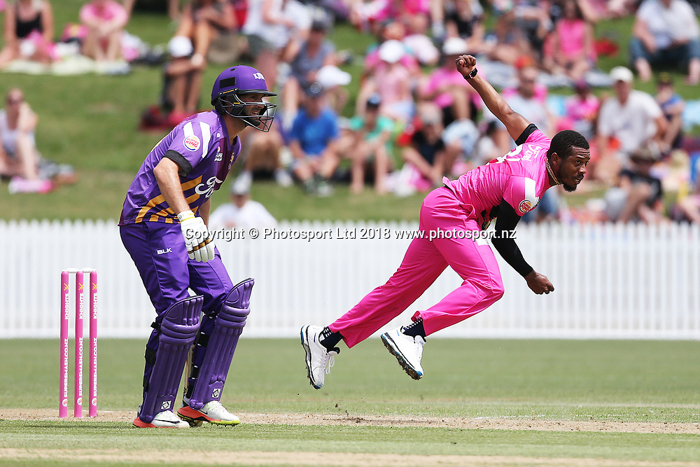 Knights Chris Jordan bowling during the Burger King Super Smash Twenty20 cricket match Knights v Kings played at Seddon Park, Hamilton, New Zealand on Sunday 14 January 2018.<br /> <br /> Copyright photo: &copy; Bruce Lim / www.photosport.nz