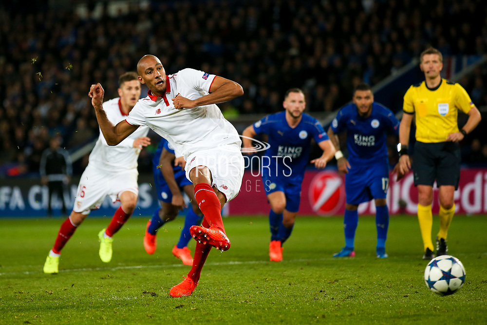 Sevilla midfielder Steven N'Zonzi (15) misses from the penalty spot  during the Champions League round of 16, game 2 match between Leicester City and Sevilla at the King Power Stadium, Leicester, England on 14 March 2017. Photo by Simon Davies.