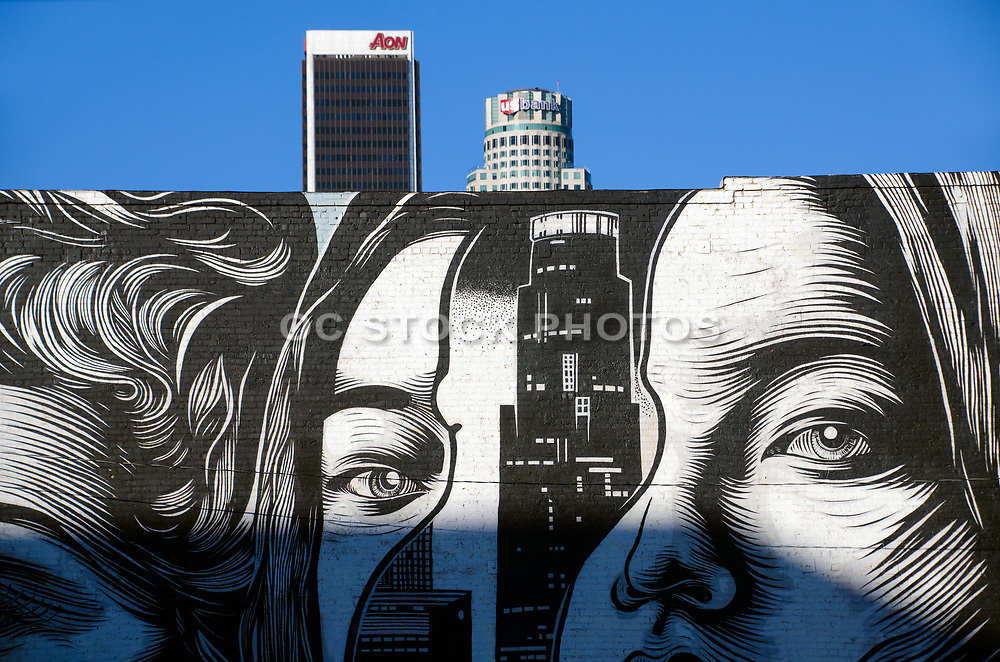Black and White Wall Mural at South Park in Downtown Los Angeles