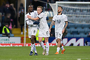 9th December 2018, Dens Park, Dundee, Scotland; Ladbrokes Premiership football, Dundee versus Rangers; Glen Kamara and Calvin Miller of Dundee hug at the end of the match after Dundee had held out for a draw despite playing for 70 minutes with ten men