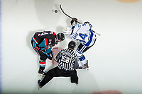 KELOWNA, CANADA - NOVEMBER 23:  Kyle Topping #24 of the Kelowna Rockets faces off against Kaid Oliver #34 of the Victoria Royals on November 23, 2018 at Prospera Place in Kelowna, British Columbia, Canada.  (Photo by Marissa Baecker/Shoot the Breeze)