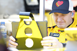 April 13, 2018 - Bristol, Tennessee, United States of America - April 13, 2018 - Bristol, Tennessee, USA: Michael McDowell (34) gets ready to practice for the Food City 500 at Bristol Motor Speedway in Bristol, Tennessee. (Credit Image: © Stephen A. Arce/ASP via ZUMA Wire)