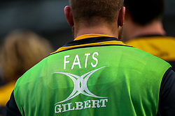 Brad Shields of Wasps wears a bib with Michael Fatialofa of Worcester Warriors nickname printed on the back to show support for him during his recovery from injury - Mandatory by-line: Robbie Stephenson/JMP - 25/01/2020 - RUGBY - Sixways Stadium - Worcester, England - Worcester Warriors v Wasps - Gallagher Premiership Rugby