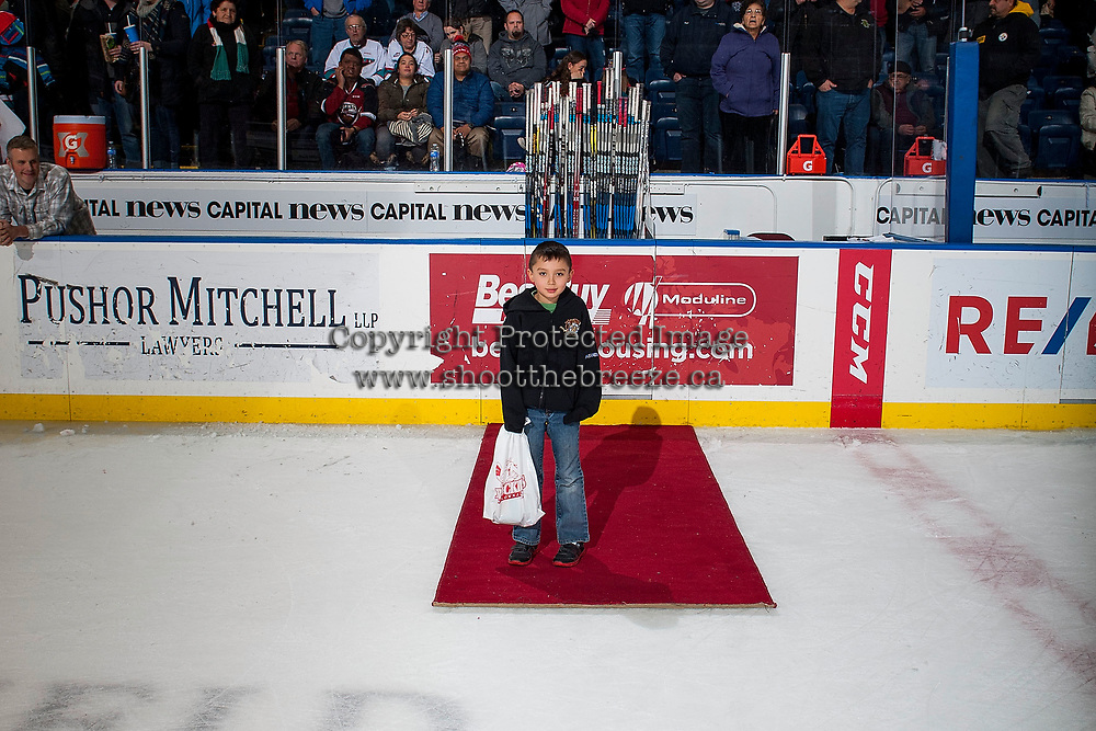 KELOWNA, CANADA - JANUARY 3: The three star presenter stands on the ice at the end of the game on January 3, 2017 at Prospera Place in Kelowna, British Columbia, Canada.  (Photo by Marissa Baecker/Shoot the Breeze)  *** Local Caption ***