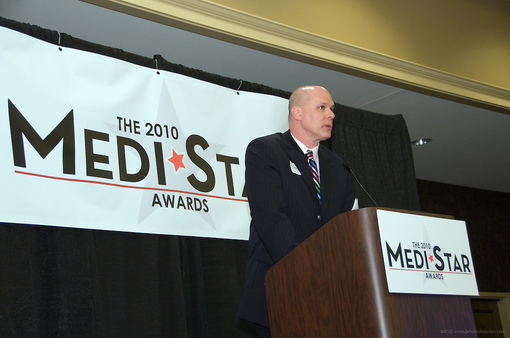 Emcee Rick Barney, executive director of Public Relations at Spaulding University.<br /> <br /> The fourth annual MediStar Awards Presentation and Cocktail Reception, a Medical News Signature Event, March 30, 2010 in the Archibald Cochran Room at the Galt House in Louisville, Ky. The MediStar Awards were established in 2007 as the region's premier venue for recognizing excellence in the business of Healthcare. (Photo by Brian Bohannon)