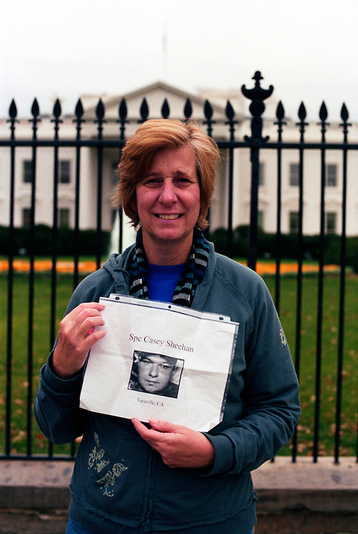 Cindy Sheehan, anti-war activist, founder of Gold Star Families For Peace and mother of Army Spc. Casey Sheehan, who was killed in Iraq on April 4th, 2004, in front of the White House..Washington, D.C., USA. 06/11/2006.Photo © J.B. Russell