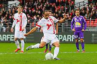 But Bruno GROUGI sur penalty  - 20.12.2014 - Brest / Ajaccio - 18eme journee de Ligue 2<br /> Photo : Vincent Michel / Icon Sport