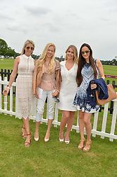 Left to right, KATHERINE BAXTER, BELINDA DELUCY MCKEEVE, LADY KITTY SPENCER and KELLY THEO at the Cartier Queen's Cup Final 2016 held at Guards Polo Club, Smiths Lawn, Windsor Great Park, Egham, Surrey on 11th June 2016.
