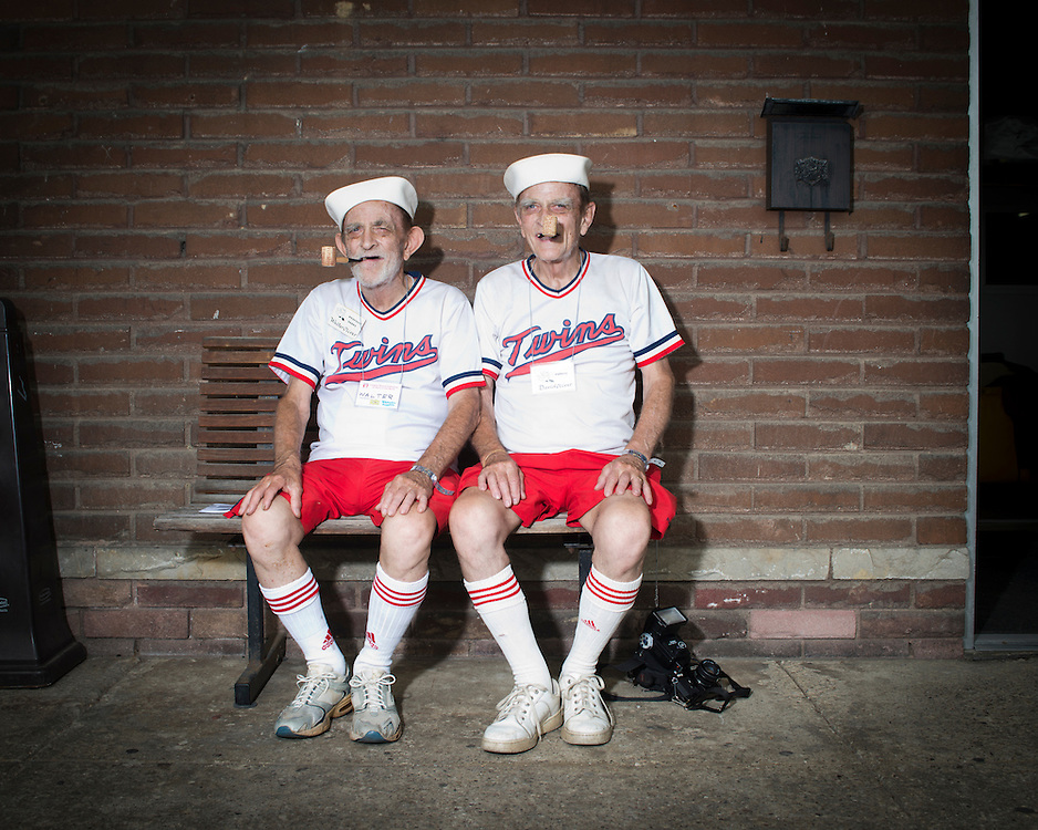 August 8, 2015 - Identical twins Walter and David Oliver of Lincoln Park, MIchigan at the 40th annual Twins Days Festival in Twinsburg, Ohio. phone number: 313-381-3355)<br /> Photo &copy; Susana Raab 2015