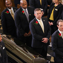 New Orleans Saints quarterback Drew Brees, head coach Sean Payton, New Orleans Pelicans general manager Dell Demps (right) and Anthony Davis (left) serve as Hnorary Pall Bearers at the funeral service for NFL New Orleans Saints owner and NBA New Orleans Pelicans owner Tom Benson in New Orleans, Friday, March 23, 2018. Benson died last Thursday at the age of 90. (AP Photo/Derick Hingle)