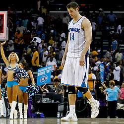 April 9, 2012; New Orleans, LA, USA; New Orleans Hornets power forward Jason Smith (14) walks off the court following a loss to the Los Angeles Lakers at the New Orleans Arena. The Lakers defeated the Hornets 93-91. Mandatory Credit: Derick E. Hingle-US PRESSWIRE