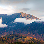 Autumn and clouds over the Great Smoky Mountains National Park, Gatlinburg Tennessee