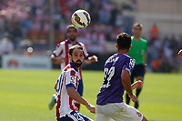 Atletico de Madrid´s Juanfran (L) and Espanyol´s Alvaro during 2014-15 La Liga Atletico de Madrid V Espanyol match at Vicente Calderon stadium in Madrid, Spain. October 19, 2014. (ALTERPHOTOS/Victor Blanco)