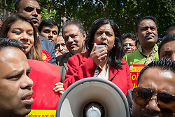 © Licensed to London News Pictures. 06/06/2015. London, UK. Rupa Huq speaking at a Labour Party rally for Tower Hamlets Mayoral candidate, John Biggs in Altab Ali Park in Tower Hamlets, east London. The three women Bangladeshi London Labour MPs (Rushanara Ali, Tulip Siddiq and Rupa Huq) attended the rally today with Labour Party supporters. Photo credit : Vickie Flores/LNP