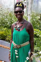 © Licensed to London News Pictures. 19/05/2014. London, England. Pictured: Floella Benjamin, Baroness Benjamin, visits the Bartholomew Landscaping & Stoke-on-Trent City Council Partnership.  Press Day at the RHS Chelsea Flower Show. On Tuesday, 20 May 2014 the flower show will open its doors to the public.  Photo credit: Bettina Strenske/LNP