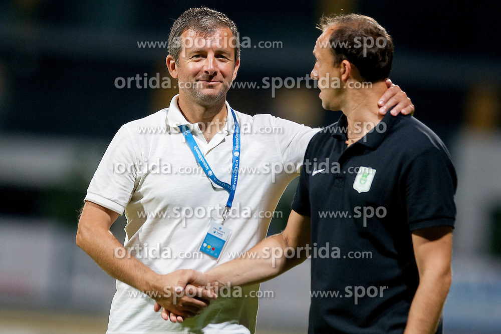 Dejan Djuranovic, head coach of NK Radomlje and Darko Karapetrovic, head coach of NK Olimpija during football match between NK Radomlje and NK Olimpija Ljubljana in Round 4 of Prva Liga Telekom Slovenije 2014/15, on August 10, 2014 in Domzale, Slovenia. Photo by Urban Urbanc / Sportida.com