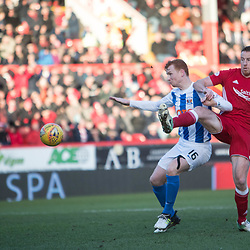 Aberdeen v Kilmarnock, Scottish Premiership, 27th January 2018<br /> <br /> Aberdeen v Kilmarnock, Scottish Premiership, 27th January 2018 &copy; Scott Cameron Baxter | SportPix.org.uk<br /> <br /> Adam Rooney with the first chance of the match, Kilmarnock Scott Boyd defends (L)