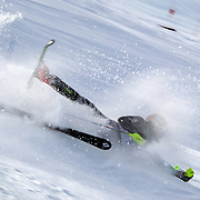 Arnaud Favre, France, crashes during the Men's Slalom event during the Winter Games at Cardrona, Wanaka, New Zealand, 24th August 2011. Photo Tim Clayton...