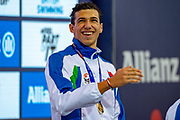 Simone Barlaam of Italy (left) with his  Gold Medal after a split time in the Men's 100 m Butterfly S9 during the World Para Swimming Championships 2019 Day 3 held at London Aquatics Centre, London, United Kingdom on 11 September 2019.