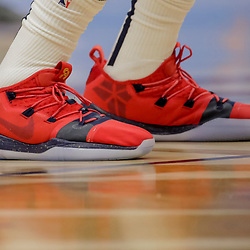 Dec 5, 2018; New Orleans, LA, USA; Shoes worn by New Orleans Pelicans forward Anthony Davis during the second half against the Dallas Mavericks at the Smoothie King Center. Mandatory Credit: Derick E. Hingle-USA TODAY Sports