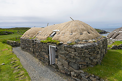 Traditional blackhouse  cottage at Gearrannan blackhouse village on Isle of Lewis in Outer Hebrides Scotland United Kingdom