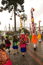 "South America, Ecuador, Pinchincha Province, Quito.  Procession during Holy Week (Semana Santa) on the Tuesday before Easter called ""Entrada de los Jocheros"""