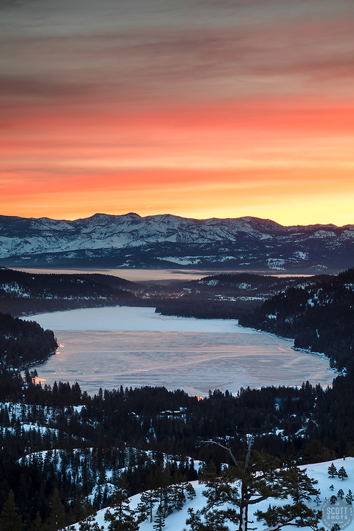 """Donner Lake Sunrise 15"" - Sunrise photograph of a mostly frozen over Donner Lake in Truckee, California."