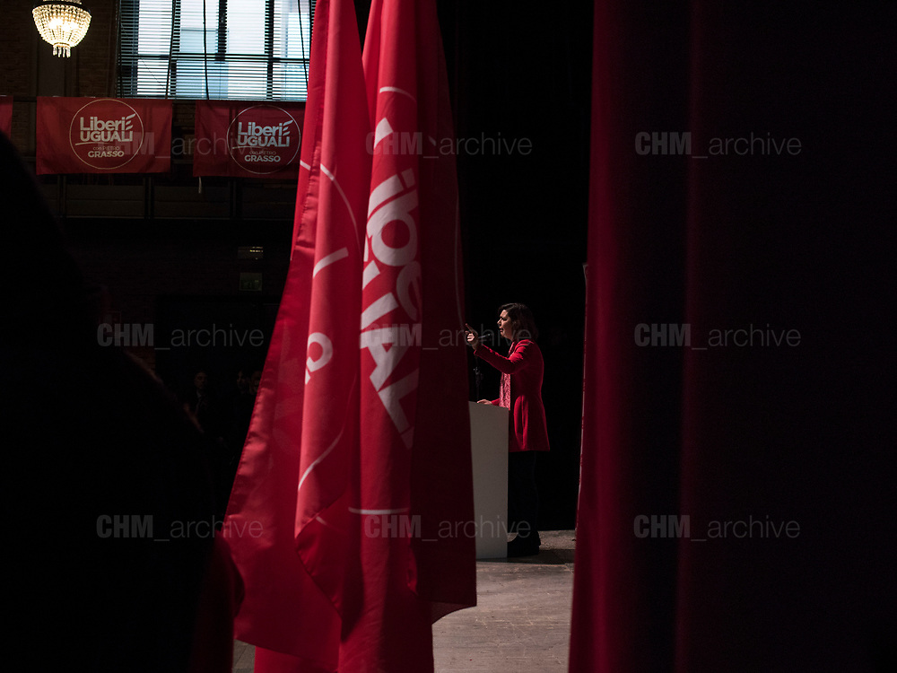 Laura Boldrini, presidente della Camera dei Deputati, durante l'apertura della campagna elettorale di 'Liberi e Uguali'. Milano, 4 febbraio 2018. Guido Montani / OneShot<br /> <br /> Laura Boldrini, president of the Chamber of Deputies, during the opening of the electoral campaign of 'Liberi e Uguali'. Milan, 4 february 2018. Guido Montani / OneShot