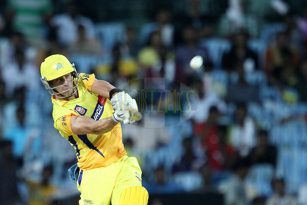 Faf du PLessis knocks Raju Bhatkal for six during match 13 of the the Indian Premier League ( IPL) 2012  between The Chennai Superkings and the Royal Challengers Bangalore held at the M. A. Chidambaram Stadium, Chennai on the 12th April 2012..Photo by Ron Gaunt/IPL/SPORTZPICS