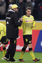 03.12.2011,  BorussiaPark, Mönchengladbach, GER, 1.FBL, Borussia Mönchengladbach vs Borussia Dortmund, im Bild.Jürgen Klopp (Trainer Dortmund) (L) und Sebastian Kehl (Dortmund #5) entaeuscht / entäuscht / traurig nach dem 1: 1..// during the 1.FBL, Borussia Mönchengladbach vs Borussia Dortmund on 2011/12/03, BorussiaPark, Mönchengladbach, Germany. Foto © nph / Mueller