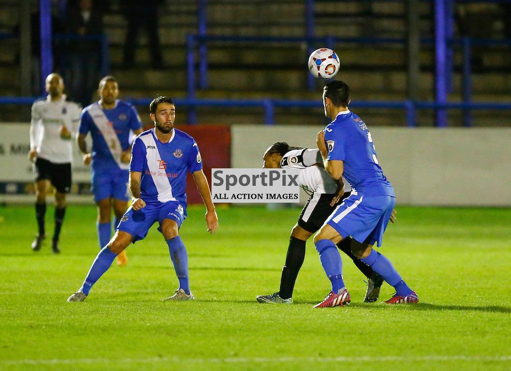 Dover's winger Ricky Modests (7) losses out to Eastleigh's defender michael Green (3). Dover Athletic v Eastleigh. Vanarama National League. 10  November 2015. (c) Matt Bristow | SportPix.org.uk