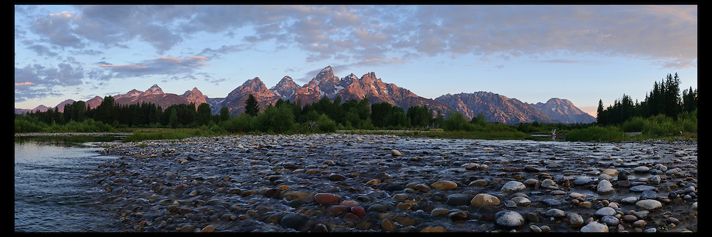 First hint of light hitting the Grand Teton mountain range in Grand Teton National Park.