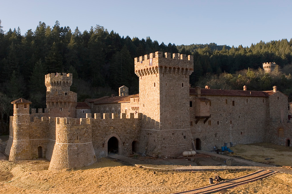 Daryl Sattui's Castello di Amorosa, a  version of a Tuscan hilltop castle in Calistoga, California. Napa Valley, California. Under construction January 2007.