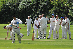 ROTHWELL CELEBRATE AFTER BOWLING OUT SAINTS ZED BABER, ROTHWELL CRICKET CLUB v  NORTHAMPTON SAINTS  CC, Desborough  Road Rothwell  Saturday 25th June 2016