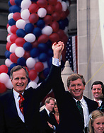 Vice President Georgw W H. Bush and Bush's selection as a running mate, Dan Quayle in Huntington, Indiana on August 19, 1988.<br /> Photo by Dennis Brack