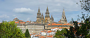 Roman Catholic cathedral, Catedral de Santiago de Compostela, cityscape from Alameda Park, Galicia, Northern Spain
