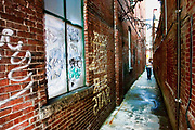 Alley between the Coffee Corner and Bear Pond Books in Montpelier Vermont.