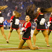 12 October 2018: The Aztec dance team performs in the rain during a tv time out in the second quarter. The San Diego State Aztecs lead 14-9 at the half against the Air Force Falcons at SDCCU Stadium Friday night.