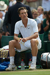 LONDON, ENGLAND - Sunday, July 4th, 2010: Tomas Berdych (CZE) looks dejected after losing the Gentlemen's Singles Final match on day thirteen of the Wimbledon Lawn Tennis Championships at the All England Lawn Tennis and Croquet Club. (Pic by David Rawcliffe/Propaganda)